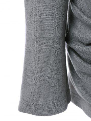 Buy Cowl Neck Ruched Longline Knitwear - M GRAY Mobile