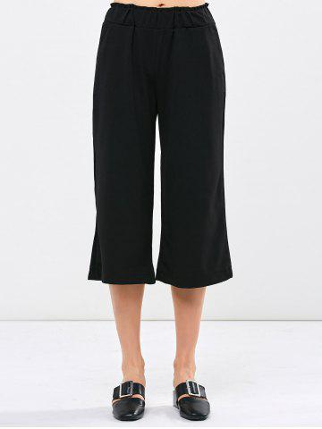 New High Waist Wide Leg Cropped Pants - ONE SIZE(FIT SIZE XS TO M) BLACK Mobile
