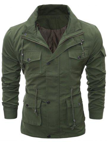 Discount Zip Up Utility Jacket with Multi Pockets - L ARMY GREEN Mobile