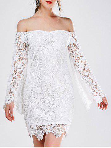 Store Off The Shoulder Long Sleeve Lace Mini Dress