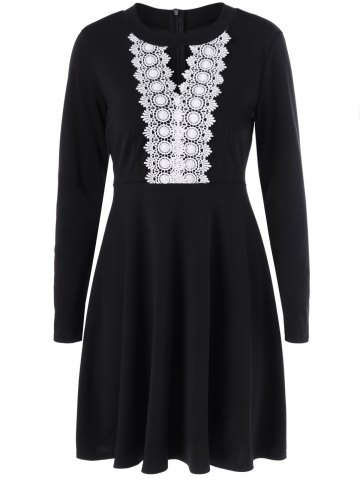 Keyhole Crochet Swing Dress - Black - M