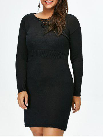 Plus Size Lace Up Fitted Jumper Dress - Black - 2xl