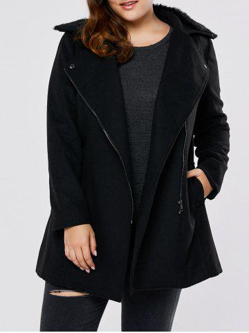 Outfit Fur Collar Plus Size Long Wool Blend Coat - 5XL BLACK Mobile
