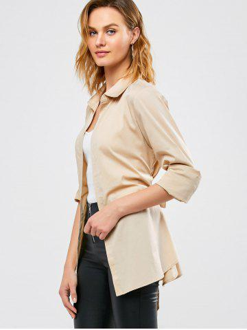 Trendy Belted Open Front Coat - M APRICOT Mobile