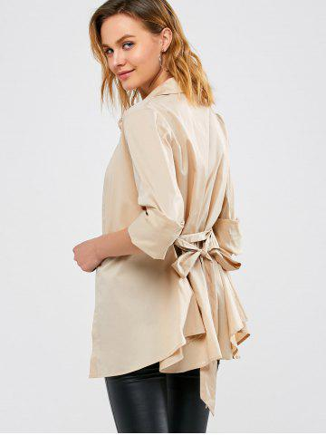 Cheap Belted Open Front Coat - M APRICOT Mobile