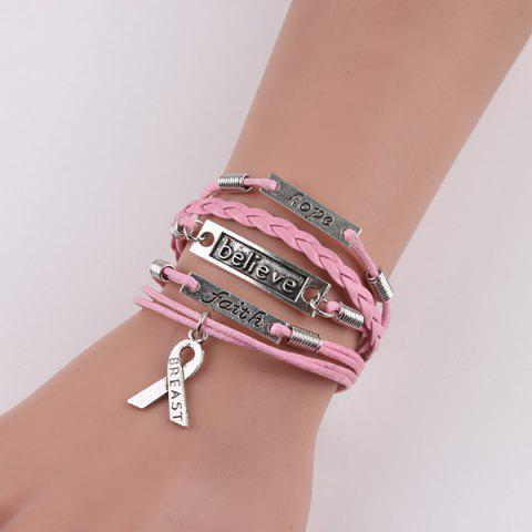 Affordable Engraved Believe Braid Artificial Leather Bracelet - PINK  Mobile