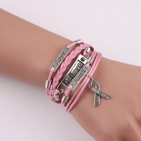 Discount Engraved Believe Braid Artificial Leather Bracelet - PINK  Mobile