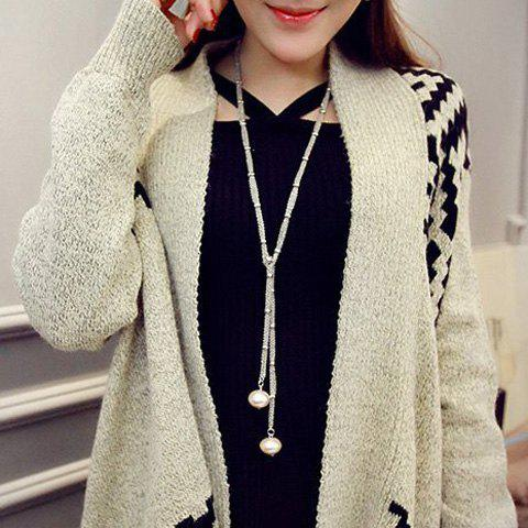 Affordable Artificial Pearl Sweater Chain - SILVER  Mobile