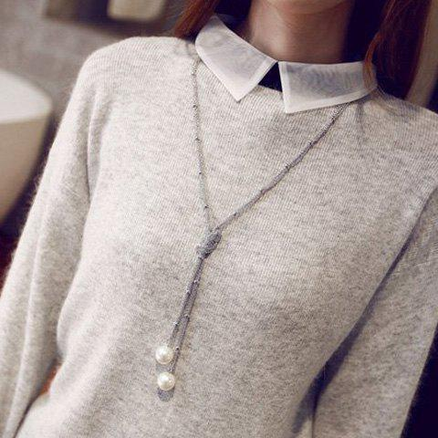 Fancy Artificial Pearl Sweater Chain - SILVER  Mobile