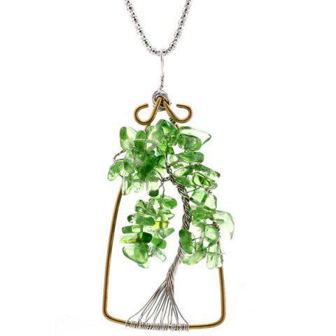 Natural Stone Life Tree Pendant Necklace - Green - 24*16inch