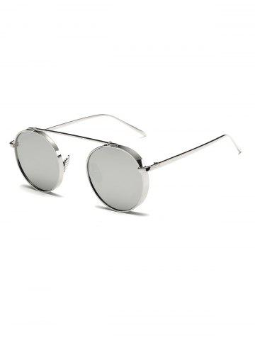 Round Chunky Frame Metal Mirrored Sunglasses - Silver