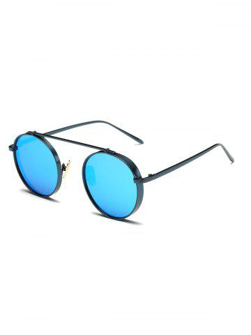 Round Chunky Frame Metal Mirrored Sunglasses - Ice Blue
