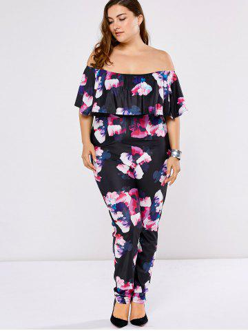 e8a36443563b Plus Size Off The Shoulder Flounce Floral Jumpsuit - Black - L