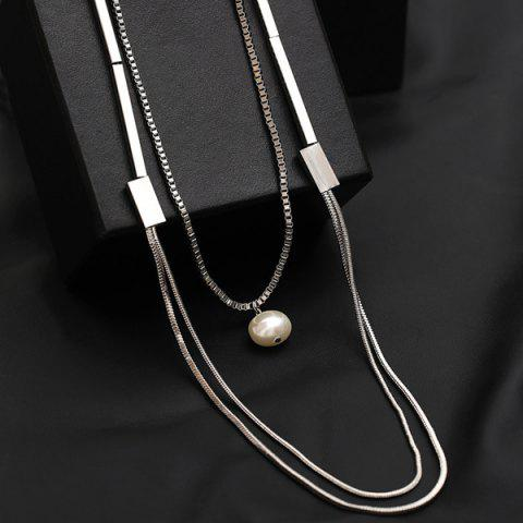Latest Artificial Pearl Layered Vintage Sweater Chain - SILVER  Mobile