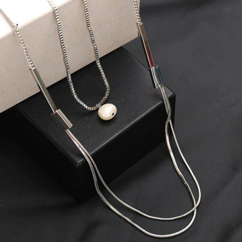 Affordable Artificial Pearl Layered Vintage Sweater Chain - SILVER  Mobile
