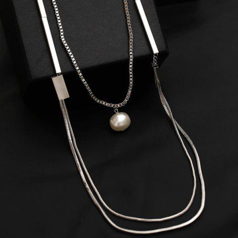 Artificial Pearl Layered Vintage Sweater Chain - Silver - One Size