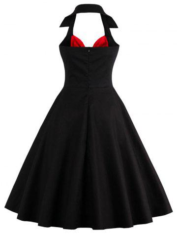 Sale Two Tone Vintage Rockabilly Party Skater Dress - L RED WITH BLACK Mobile