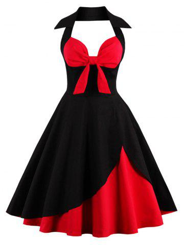 Shops Two Tone Vintage Rockabilly Party Skater Dress RED/BLACK L