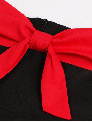 New Two Tone Vintage Rockabilly Party Skater Dress - L RED WITH BLACK Mobile