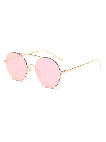 New Crossbar Metallic Round Mirrored Sunglasses PINK