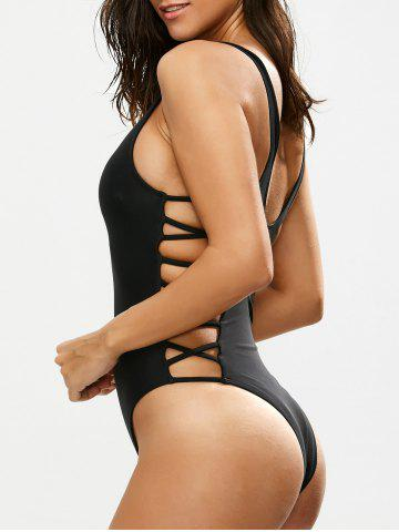 Buy Lacing Up One Piece Swimsuit BLACK XL