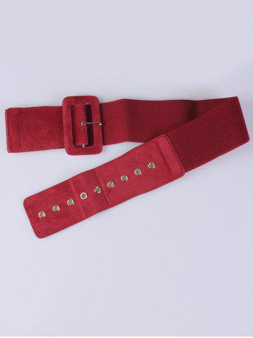 Outfit Pin Buckle Wide Elastic Belt - RED  Mobile