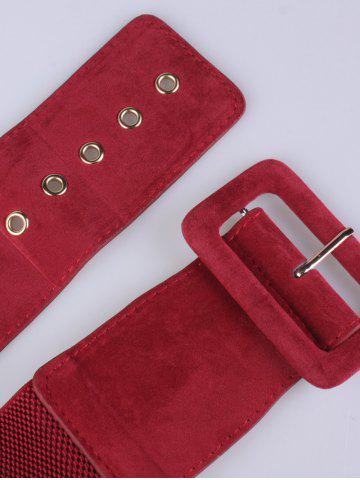Chic Pin Buckle Wide Elastic Belt - RED  Mobile