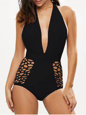 Hot Cut Out High Waisted Plunge Swimsuit BLACK XL
