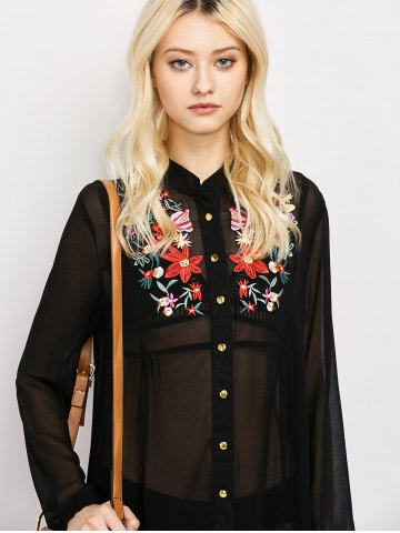 Shops Long Sleeve Floral Button Up Sheer Maxi Shirt Dress - M BLACK Mobile