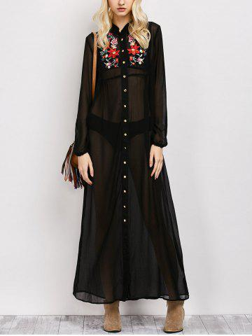 Store Long Sleeve Floral Button Up Sheer Maxi Shirt Dress - M BLACK Mobile
