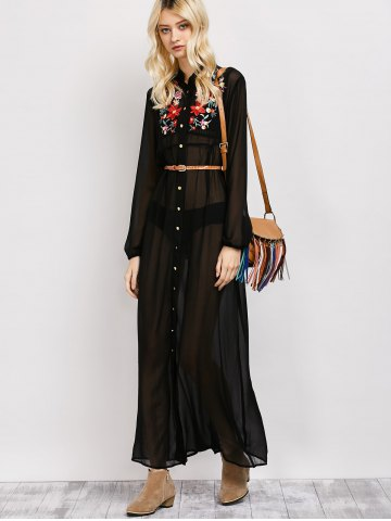 Shop Long Sleeve Floral Button Up Sheer Maxi Shirt Dress - M BLACK Mobile