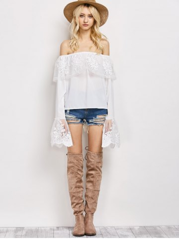 New Off The Shoulder Lace Ruffle Top - XL WHITE Mobile