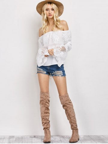 Buy Off The Shoulder Lace Ruffle Top - XL WHITE Mobile