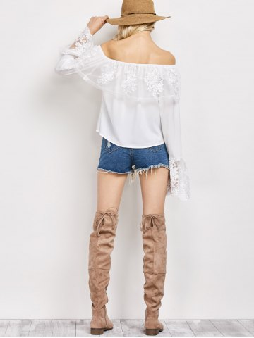 Hot Off The Shoulder Lace Ruffle Top - XL WHITE Mobile