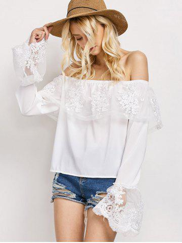 Trendy Off The Shoulder Lace Ruffle Top - M WHITE Mobile