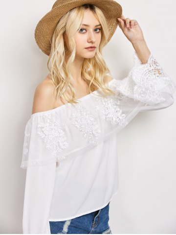 Outfits Off The Shoulder Lace Ruffle Top - M WHITE Mobile
