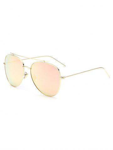 Sale Metal Frame Crossbar Pilot Mirrored Sunglasses - SHALLOW PINK  Mobile