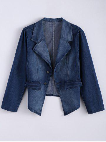 Lapel Jean Two Button Design Jacket - Denim Blue - 2xl