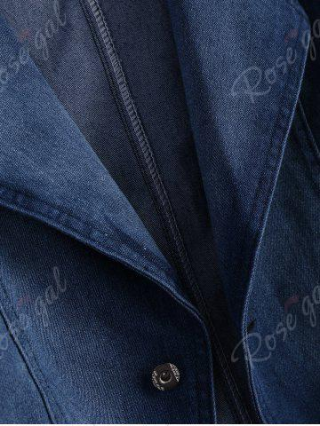 Shop Lapel Jean Two Button Design Jacket - 2XL DENIM BLUE Mobile