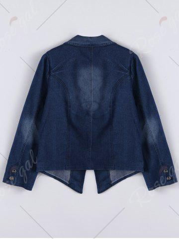 Fancy Lapel Jean Two Button Design Jacket - 2XL DENIM BLUE Mobile