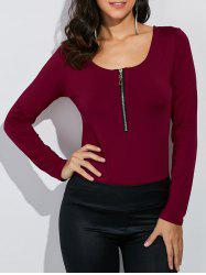 Zippered Long Sleeve Tee