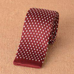 Heart Pattern Knitted Neck Tie - WINE RED