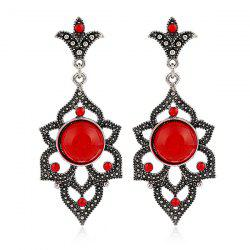 Rhinestone Fake Opal Drop Earrings - RED