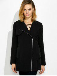 Lapel Collar Asymmetrical Zipper Coat