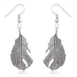Alloy Feather Drop Earrings