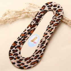 Skidproof Invisible Leopard Print Loafer Liner Socks