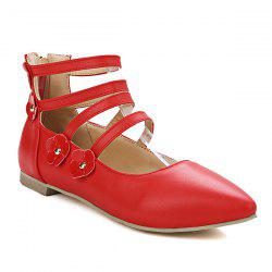 Zipper Strappy Flowers Flat Shoes - RED
