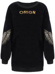 Wing Letter Embroidery Drop Shoulder Sweatshirt -