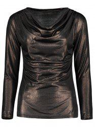 Cowl Neck Metallic Ruched Tee -