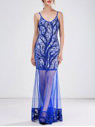 Sequined Mesh See-Througn Sexy Maxi Cami Dress